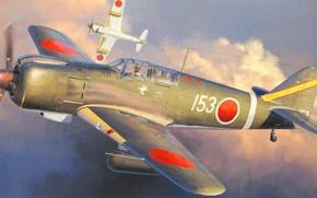 Wallpaper aviation, ww2, painting, Kawasaki Ki-100, war, art