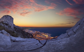 Picture sea, sunset, the city, lights, panorama, Monaco