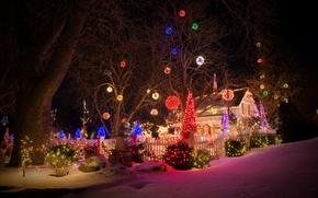 Picture winter, snow, night, Christmas, garland, Christmas, winter, snow, New Year, decoration, garland