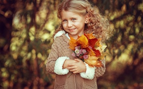Wallpaper girl, bokeh, smiley, child, child, face, leaves