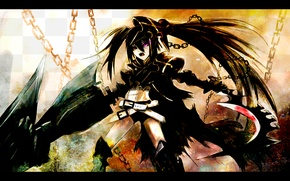 Picture art, chain, black rock shooter, art, insane black rock shooter, chain, brs