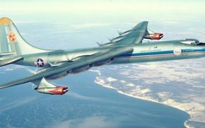Picture war, art, airplane, painting, aviation, Convair B-36 Peacemaker