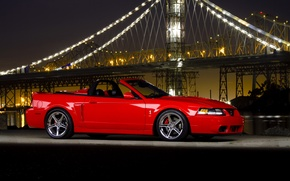 Picture night, bridge, ford mustang, cobra, Ford Mustang