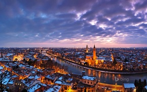 Picture the sky, clouds, night, lights, river, home, Italy, Verona, Adige