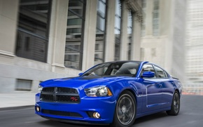 Picture blue, movement, speed, Dodge, sedan, Dodge, Charger, Sedan, R/T, 2013, Muscle Car, Daytona, V-8
