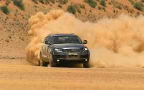 Picture the wind, Audi, desert, dust, turn, cars, cars, desert, sands, auto walls, dust, wind machines