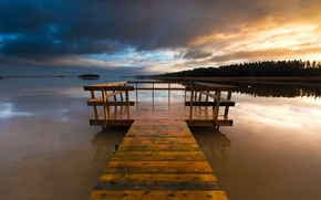 Wallpaper forest, the sky, sunset, clouds, bridge, lake, the evening, wooden, Sweden, the bridge, Varmland County