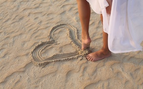 Picture beach, girl, legs, heart, trust yourself
