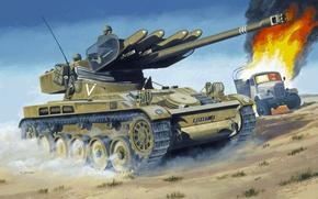Picture desert, figure, truck, tank, ATGM SS-11, The AMX-13