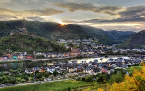 Picture the sky, the sun, clouds, the city, river, mountain, home, dal, Germany, horizon, Cochem