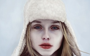 Picture winter, look, girl, snow, face, hat, art, lips
