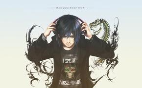 Picture skeleton, guy, fan art, smile, Potter, headphones, Albus, Albus Severus Potter, snake, text, skull, Harry ...