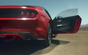 Picture red, Mustang, Ford, Mustang, red, muscle car, Ford, muscle car, rear, open door