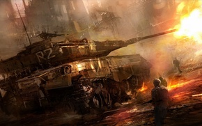 Picture the city, fire, war, shot, soldiers, tank
