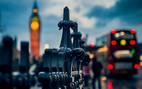 Picture macro, the city, lights, people, the fence, England, London, the evening, fence, the fence, UK, ...
