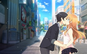 Picture the city, kiss, anime, art, pair, two, Oreimo