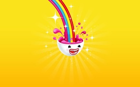 Picture joy, yellow, color, rainbow, minimalism, head