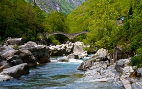 Picture greens, forest, trees, mountains, bridge, river, stones, Switzerland, Verzasca Valley