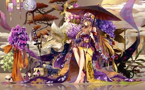 Wallpaper flowers, yakumo ran, chen, umbrella, tree, strikingly is wait, hydrangea, girl, katana, sword, skull, tube, ...