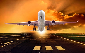 Wallpaper clouds, takes off, dawn, lights, runway, asphalt, the plane, the sky, rays, passenger, the sun