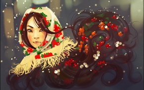 Picture berries, look, girl, winter, shawl, face, hair