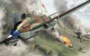 Picture WW2., combat, Panther, history, art, mass, the plane, attack, 1944., column, the, WWII, attack, double, ...
