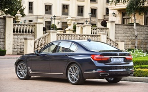 Picture lawn, BMW, track, fountain, mansion, rear view, 730d