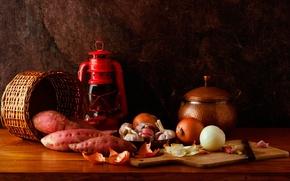 Picture basket, lamp, bow, garlic, radish