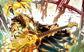 Picture girl, guitar, art, vocaloid, kagamine rin, Vocaloid, meltdown