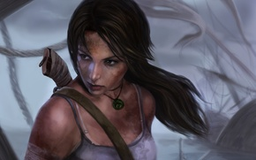 Picture look, face, hair, dirt, art, knife, ponytail, Lara Croft, Lara Croft, Tomb raider