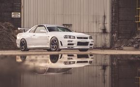 Picture Nissan, Water, Skyline, GT-R 34, Reflexion
