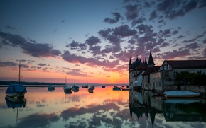 Picture water, clouds, reflection, home, boats, the evening