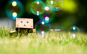 Picture bubbles, danbo, Danboard, bubbles, box, toy, grass, robot, grass