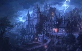 Wallpaper lights, fortress, lightning, water, night, Marina, castle