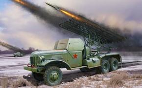 Picture war, art, painting, ww2, Russian BM-13
