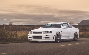 Picture Nissan, White, Road, GT-R 34, Skylin