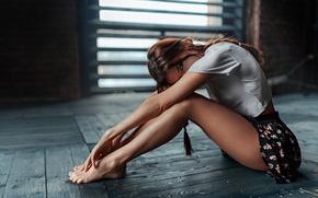 Picture girl, skirt, braids, Wallpaper legs, George Chernyadev., slim