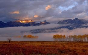 Wallpaper morning, light, mountains, fog, the sky, autumn