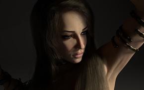 Picture bracelet, brunette, prisoner, realism