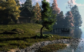 Picture trees, landscape, sunset, house, river, sunrise, stones, boat, art, klontak