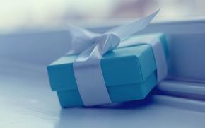 Picture joy, holiday, box, gift, blue, Wallpaper, mood, tape, bow, wallpapers, box, nice, shirokoformatnye Wallpaper, full …