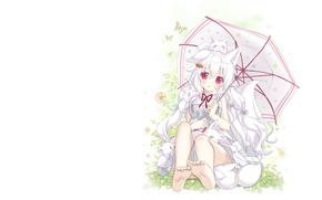 Picture summer, umbrella, mood, anime, art, girl, ears, ponytail
