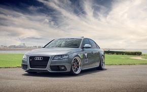 Picture grey, Audi, Audi, sports car, track, grey