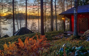 Picture vila, architecture, Nature, sunset, trees, Villa, the sun, autumn, scenery, forest, forest, sun, house, home, ...