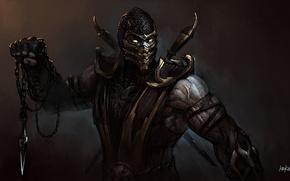 Picture mask, art, chain, knife, Mortal Kombat, Scorpion, droxia