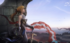 Wallpaper girl, face, sword, armor, profile, flags, fortress, fantasy, weapons. art