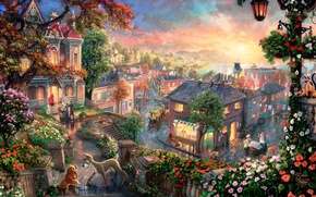 Picture love, sunset, flowers, the city, cats, heart, cartoon, home, lantern, painting, Lady, mongrel, quarter, Thomas …