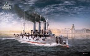 Picture ship, Saint Petersburg, Aurora, cruiser, worldofwarships