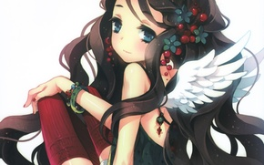 Picture girl, smile, wings, stockings, anime, art, tearfish