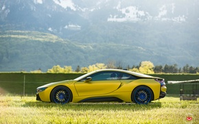 Wallpaper tuning, bmw i8, mountains, car, yellow